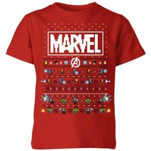 Marvel Avengers Pixel Art Kids Christmas T-Shirt - Red