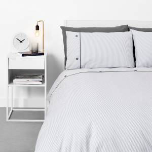 in homeware Pinstripe with Button Cuff Duvet Set - Grey