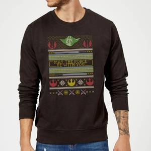 Star Wars May The force Be with You Pattern Christmas Sweatshirt - Black