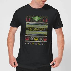 Star Wars May The force Be with You Pattern Men's Christmas T-Shirt - Black