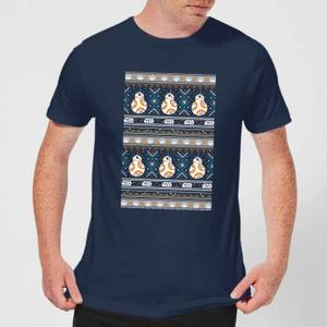 Star Wars BB-8 Pattern Men's Christmas T-Shirt - Navy
