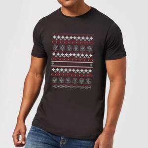 Star Wars On The Naughty List Pattern Men's Christmas T-Shirt - Black