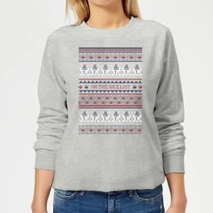 Star Wars On The Nice List Pattern Women's Christmas Sweatshirt - Grey