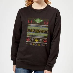 Star Wars May The force Be with You Pattern Women's Christmas Sweater - Black