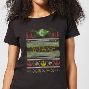 Star Wars May The Force Be With You Pattern Damen T-Shirt - Schwarz