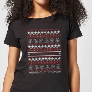 Star Wars On The Naughty List Pattern Damen T-Shirt - Schwarz