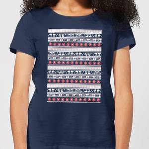 T-Shirt Star Wars AT-AT Pattern Christmas - Navy - Donna