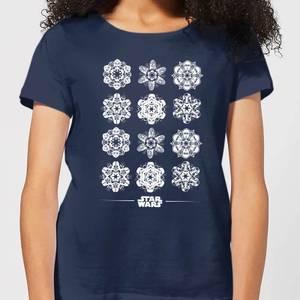 T-Shirt de Noël Femme Star Wars Snowflake - Bleu Marine