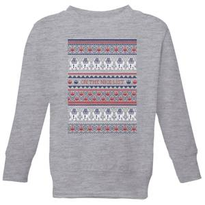 Star Wars On The Nice List Pattern Kids Christmas Sweater - Grey
