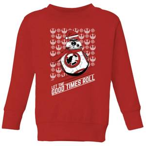 Star Wars Let The Good Times Roll Kids Christmas Sweatshirt - Red