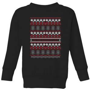 Star Wars On The Naughty List Pattern Kids Christmas Sweatshirt - Black
