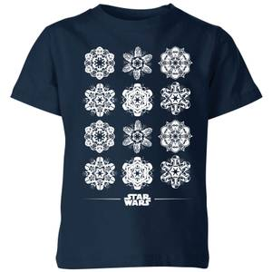 Star Wars Snowflake Kinder T-Shirt - Navy Blau