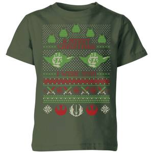 Star Wars Merry Christmas I Wish You Knit Kinder T-Shirt - Dunkelgrün