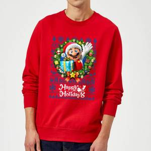 Nintendo Super Mario Happy Holidays Mario Christmas Sweatshirt - Red