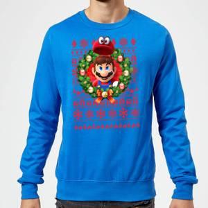 Nintendo Super Mario Mario and Cappy Christmas Sweatshirt - Royal Blue