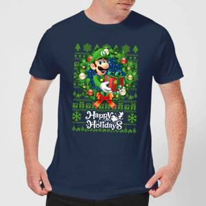 Nintendo Super Mario Happy Holidays Luigi Men's Christmas T-Shirt - Navy