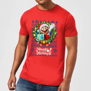Nintendo Super Mario Happy Holidays Mario Men's Christmas T-Shirt - Red