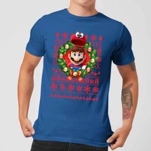 Nintendo Super Mario Mario and Cappy Men's Christmas T-Shirt - Royal Blue