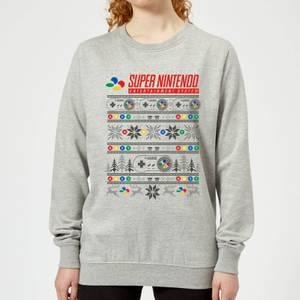 Felpa Nintendo SNES Pattern Christmas - Grigio - Donna
