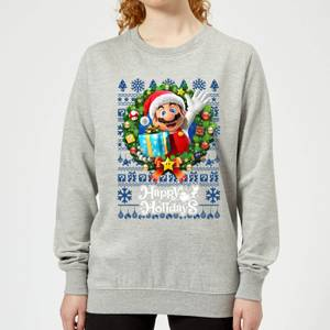 Nintendo Super Mario Happy Holidays Mario Women's Christmas Sweatshirt - Grey