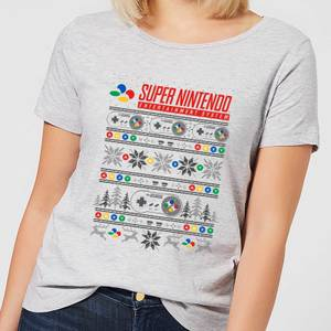 Nintendo SNES Pattern Women's Christmas T-Shirt - Grey