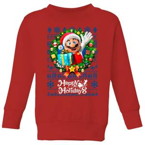 Nintendo Super Mario Happy Holidays Mario Kid's Christmas Sweatshirt - Red