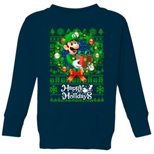 Pull de Noël Enfant Nintendo Happy Holidays Luigi - Bleu Marine