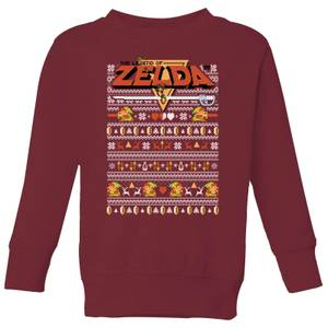 Nintendo Legend Of Zelda Pattern Kid's Christmas Sweatshirt - Burgundy