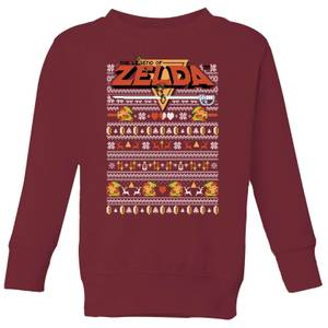 Felpa Nintendo Legend Of Zelda Pattern Kid's Christmas - Burgundy