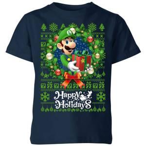 T-Shirt Nintendo Super Mario Happy Holidays Luigi Kid's Christmas - Navy