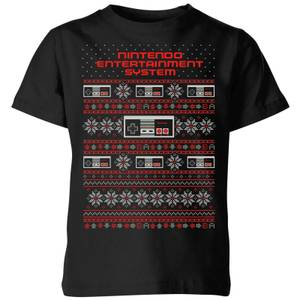 Nintendo NES Pattern Kid's Christmas T-Shirt - Black