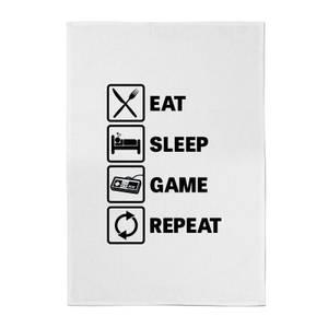 Eat Sleep Game Repeat Cotton Tea Towel