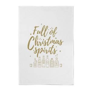 Full Of Christmas Spirits Cotton Tea Towel