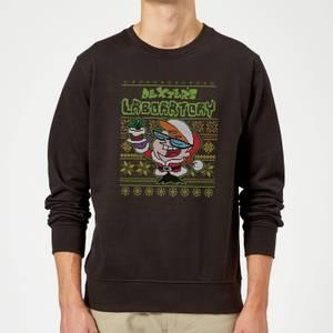 Dexter's Lab Pattern Christmas Sweatshirt - Black