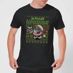Dexter's Lab Pattern Men's Christmas T-Shirt - Black