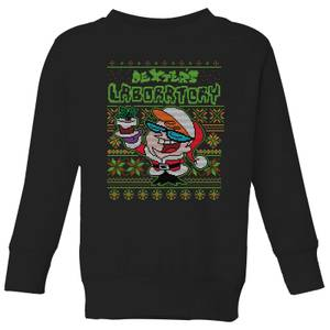 Dexter's Lab Pattern Kids' Christmas Sweater - Black