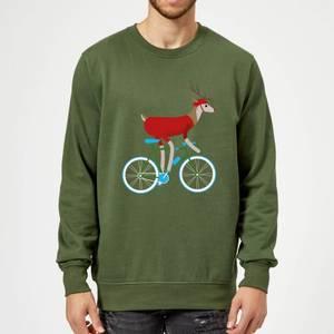 Biking Reindeer Christmas Sweatshirt - Forest Green