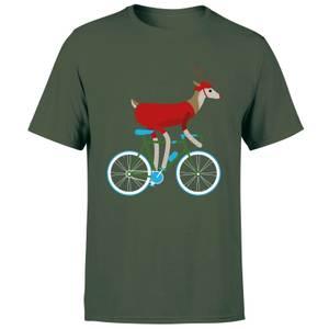 Biking Reindeer Men's Christmas T-Shirt - Forest Green