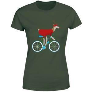 Biking Reindeer Women's Christmas T-Shirt - Forest Green