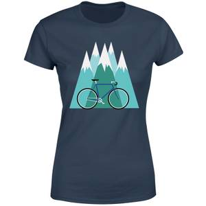 Bike and Mountains Women's Christmas T-Shirt - Navy