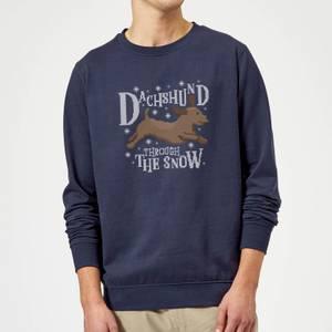 Dachshund Through The Snow Christmas Sweatshirt - Navy