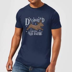 Dachshund Through The Snow Men's Christmas T-Shirt - Navy