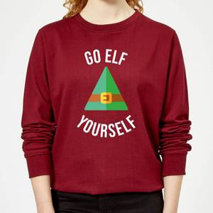 Go Elf Yourself Women's Christmas Sweatshirt - Burgundy