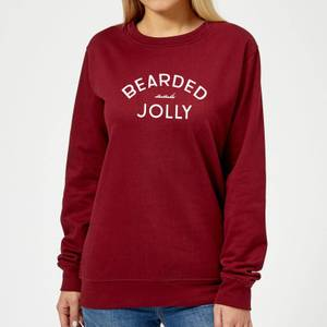 Bearded and Jolly Women's Christmas Sweatshirt - Burgundy