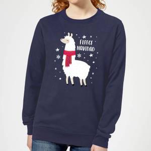 Fleece Navidad Women's Christmas Sweatshirt - Navy
