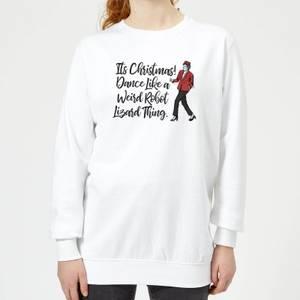 Its Christmas, Dance Like A Weird Robot Women's Christmas Sweatshirt - White