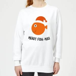 Merry Fish-Mas Women's Christmas Sweatshirt - White
