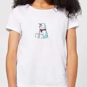 Unicorn Snowman Women's Christmas T-Shirt - White