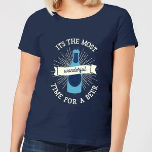 It's The Most Wonderful Time for A Beer Women's Christmas T-Shirt - Navy
