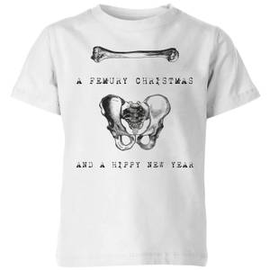 A Femury Christmas and A Hippy New Year Kids' Christmas T-Shirt - White